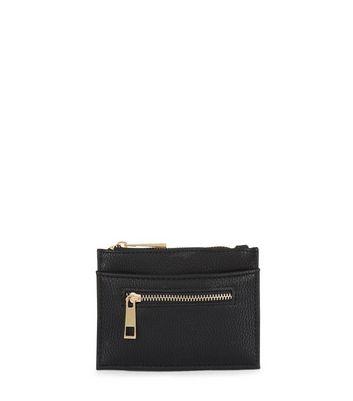 Black Leather-Look Zip Top Card Holder