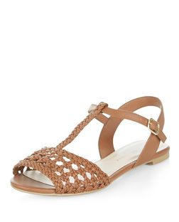 Teens Tan Leather-Look Plait Sandals | New Look