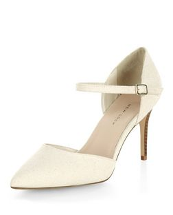 Wide Fit Cream Canvas Pointed Ankle Strap Heels  | New Look