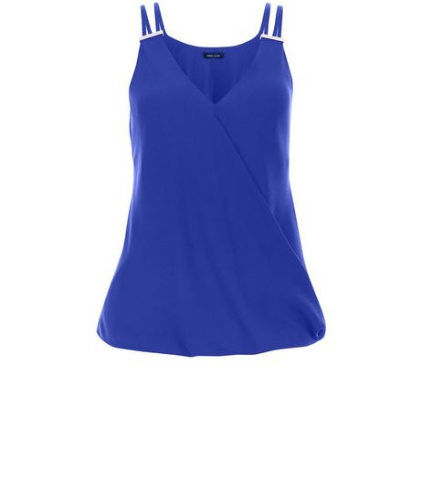 Blue Metal Bar Wrap Front Cami  | New Look