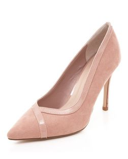 Stone Suedette Contrast Trim Pointed Court Shoes  | New Look