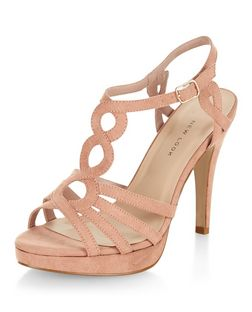 Wide Fit Stone Suedette Swirl Strap Platform Heels  | New Look