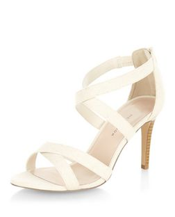 Wide Fit Stone Canvas Cross Strap Heels  | New Look