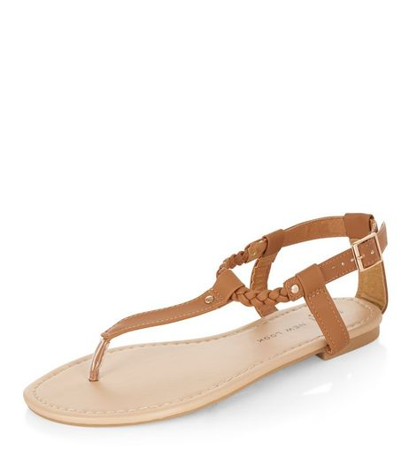 Teens Tan Plaited Strap Sandals  | New Look
