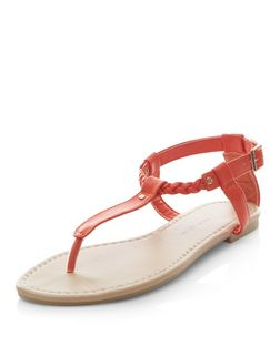 Teens Orange Plaited Strap Sandals  | New Look
