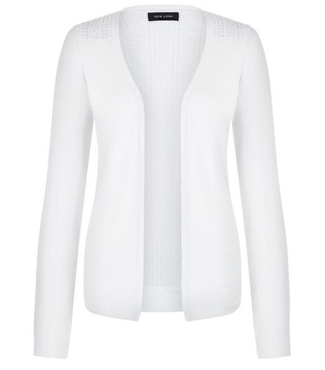 White Lace Panel Cardigan | New Look