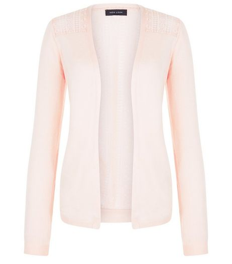 Shell Pink Lace Panel Cardigan | New Look