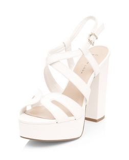 Wide Fit White Cross Strap Platform Heels | New Look