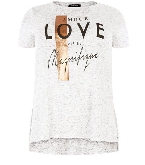 Curves Grey Fine Knit Amour Love T-Shirt  | New Look