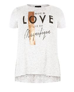 Plus Size Grey Fine Knit Amour Love T-Shirt  | New Look