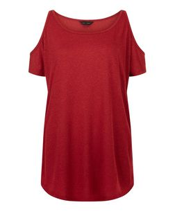Red Cold Shoulder T-Shirt  | New Look