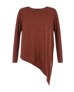 Tan Fine Knit Asymmetric Long Sleeve Top  | New Look
