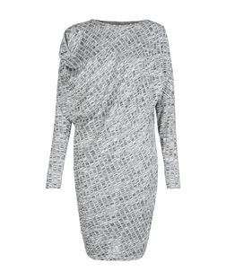 Parisian Grey Textured Drape Dress | New Look