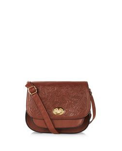 Tan Embossed Saddle Bag  | New Look