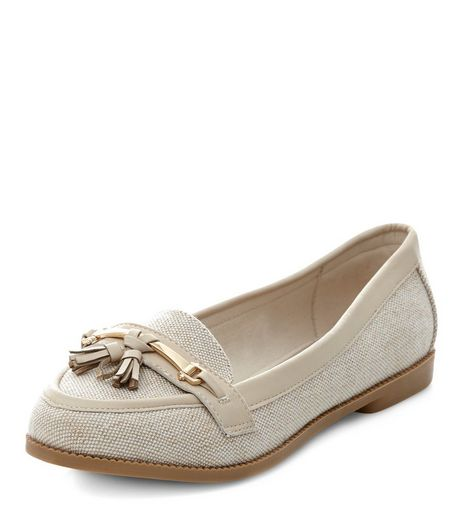 Wide Fit Stone Canvas Tassel Front Loafers  | New Look