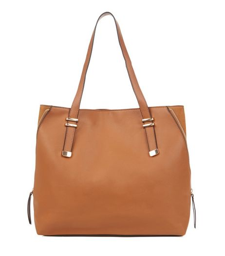 Tan Zip Side Shopper Bag  | New Look