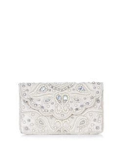 Stone Pearl Embellished Scallop Envelope Clutch  | New Look