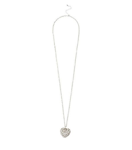 Silver Crystal Heart Pendant Necklace | New Look