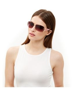 Pink Embellished Rectangle Sunglasses | New Look