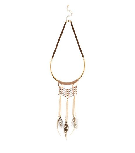Brown Chevron Bar Feather Torque Necklace | New Look