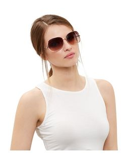 Pink Side Rectangle Sunglasses | New Look