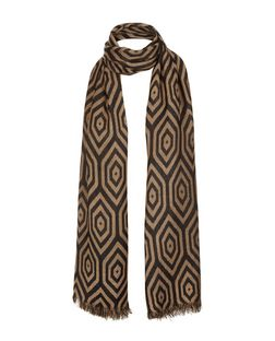 Camel and Black Geo Print Scarf  | New Look