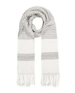 White Stripe Jacquard Fringed Scarf | New Look