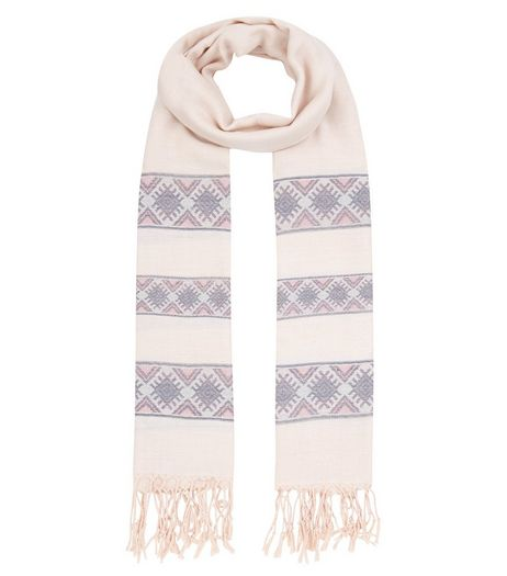 Pink Aztect Print Jacquard Scarf | New Look