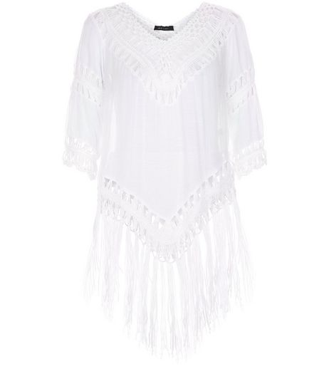 White Crochet Trim Tassel Hem Top  | New Look