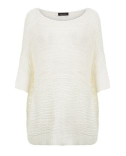 White Textured Stitch Short Sleeve Jumper  | New Look