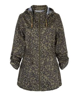 Brave Soul Khaki Leopard Print Trench Coat  | New Look