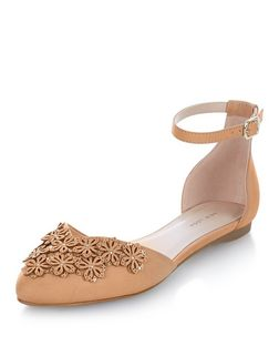 Nude 3D Floral Ankle Strap Pumps  | New Look