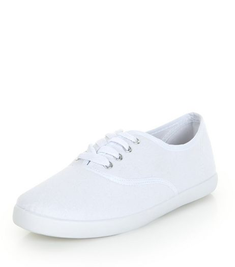 White Lace Up Plimsolls  | New Look