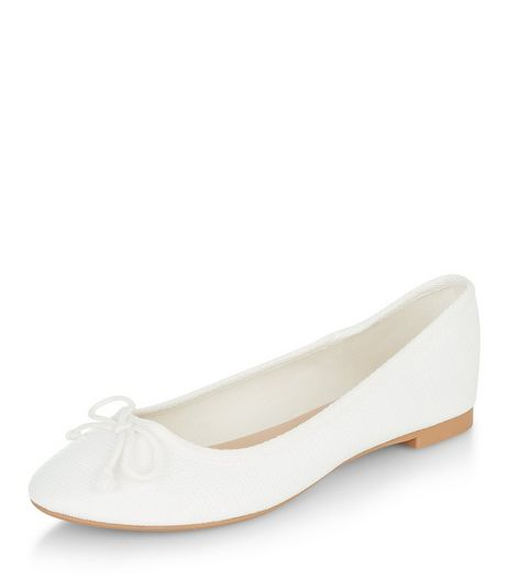 White Textured Ballet Pumps  | New Look
