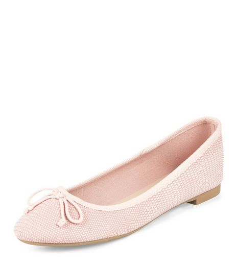 Pink Textured Ballet Pumps | New Look