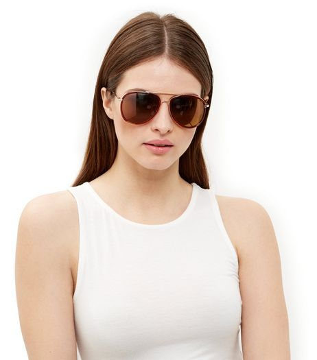 Brown Rim Pilot Sunglasses | New Look