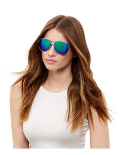 Blue Mirrored Pilot Sunglasses | New Look