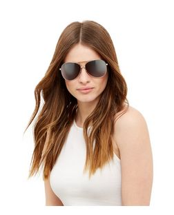 Silver Mirrored Pilot Sunglasses | New Look