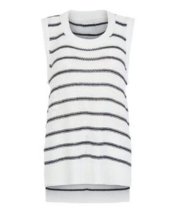Brave Soul White Stripe Knitted Vest | New Look