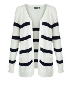 Brave Soul White Stripe Longline Cardigan | New Look