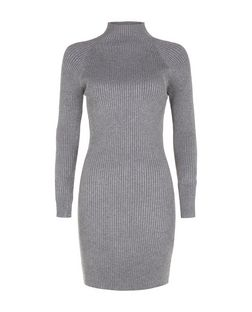 Blue Vanilla Grey Ribbed High Neck Dress | New Look