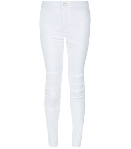 Teens White Ripped Knee High Waist Super Skinny Jeans | New Look