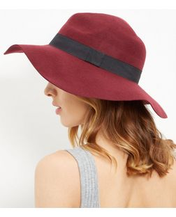 Red Wool Oversized Fedora | New Look