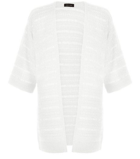 White Ladder Stripe Kimono  | New Look