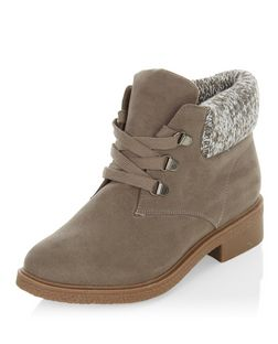 Teens Grey Suedette Knitted Cuff Ankle Boots  | New Look