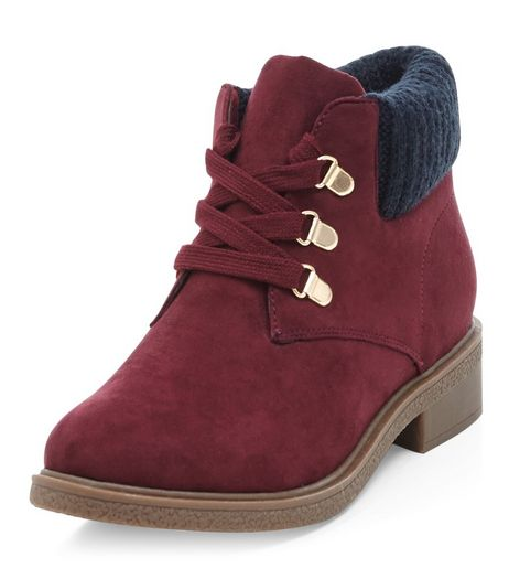 Teens Dark Red Suedette Knitted Cuff Ankle Boots  | New Look