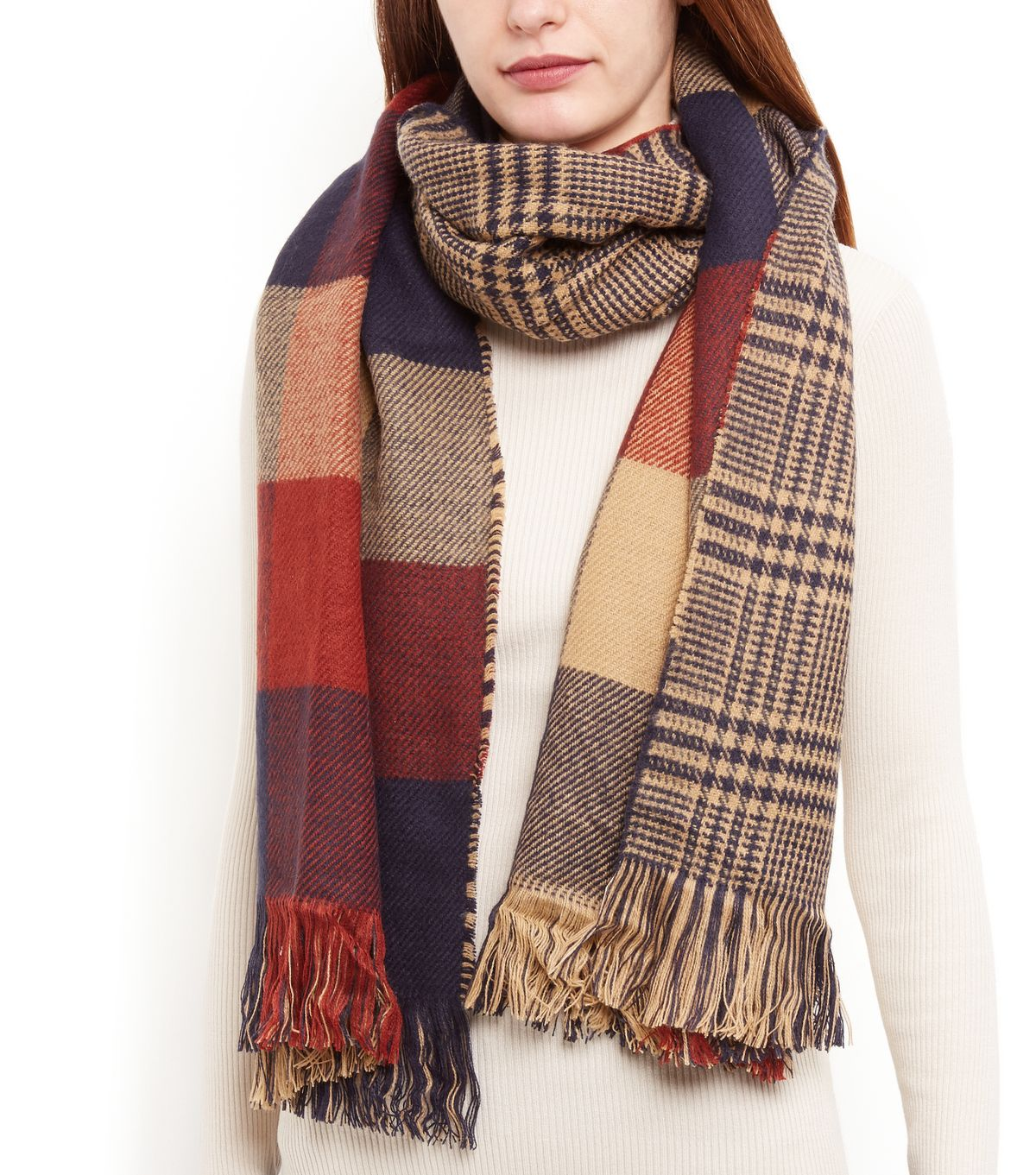 Orange And Blue Check Fringed Scarf | New Look