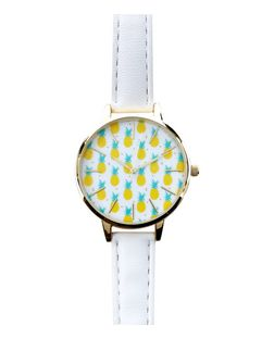 White Pineapple Print Face Leather-Look Strap Watch  | New Look