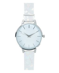 Silver Iridescent Strap Watch  | New Look
