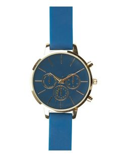 Blue Silicone Strap Watch  | New Look